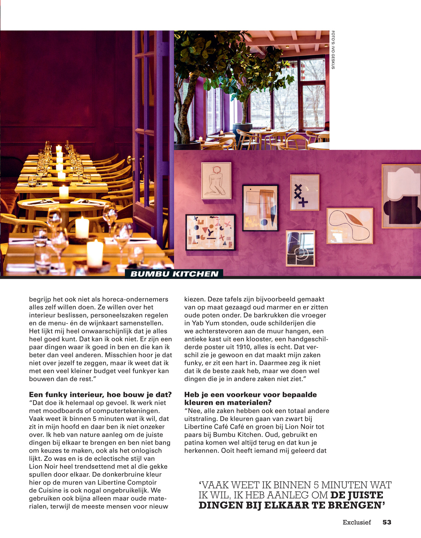 Sligro Exclusief Magazine 03 2018 Pagina 54 55